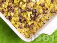 Печени тиквички с ориз и гъби на фурна (без яйца)